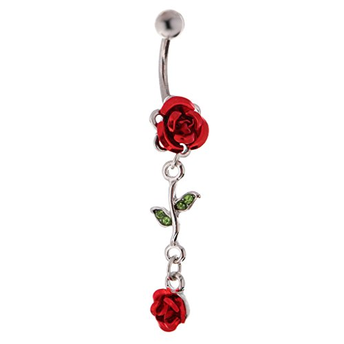 Dovewill Hypoallergenic 316L Stainless Steel Safe Belly Ring Rose Flower Rhinestone Leaf Dangle Belly Button Body Piercing Jewelry 14g - Red