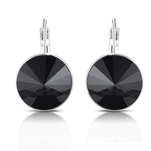 Unique Royal Jewelry Swarovski Crystal Bella French Wire Clip Pierced Post Drop Designer Earrings. (Black)