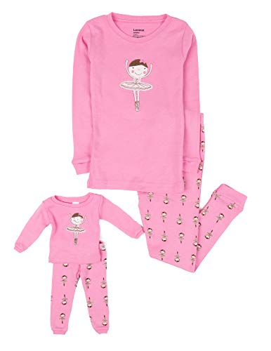 Leveret Ballerina Matching Doll & Girl 2 Piece Pajama Set 100% Cotton (10 Years)