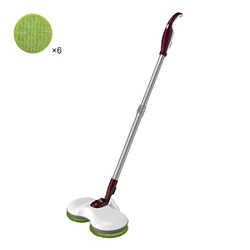 Finether Plug-In Electric Mop Cleaner Sweeper with Dual Spin Mop Heads, 180° Swivel Extendable Handle, Energy-Saving Scrubber Polisher for Home Hard Floor Wood Laminate Tile, White ()