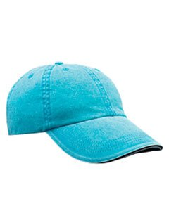 Anvil Solid Low-Profile Sandwich Trim Pigment-Dyed Twill Cap (166)- Aqua,One Size