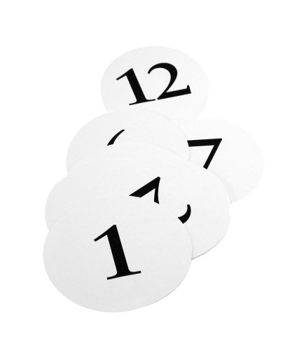 Weddingstar Round Table Number Cards, Numbers 1 to 12 (Cards Number Round Table)