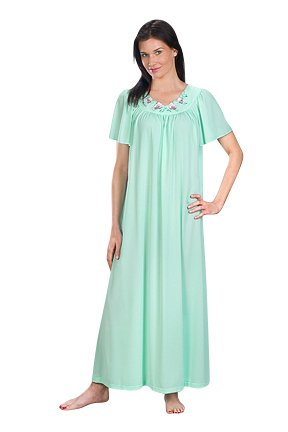 Shadowline Women's Petals 53 Inch Short Flutter Sleeve Long Gown