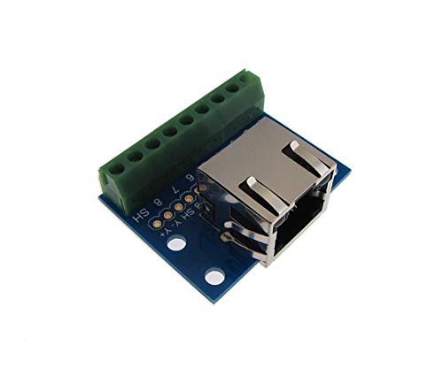 RJ45 Ethernet Connector Breakout Board w/ LED Screw terminals Spring
