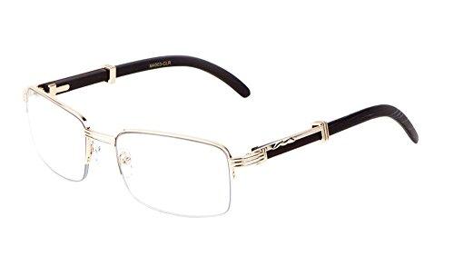 Executive Half Rim Rectangular Metal & Wood Eyeglasses / Clear Lens Sunglasses - Frames (Rose Gold & Black Wood, - Rose Gold Rims