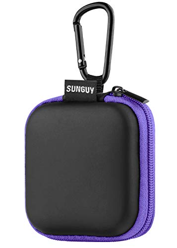 Earbuds Carrying Case,SUNGUY Portable Shape Hard EVA Carry Case Storage Bag with Carabiner for Earphone,Earbuds,Bluetooth Headset,Wired Headset,USB Cable,Phone Chargers and More - Purple ()