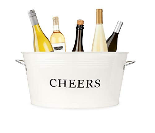 Twine Rustic Farmhouse Galvanized Cheers Tub, Cream, 6.3 gallons, White (Wine Personalized Chiller Bucket)