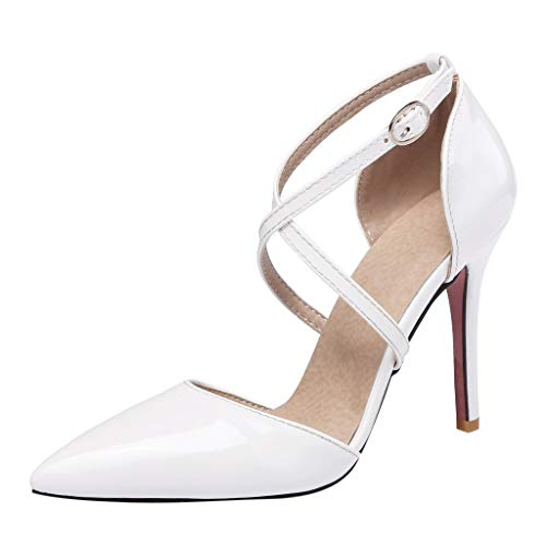 Claystyle Womens Closed Toe High Heel Dress Party Pump Sandals Cross Straps Pointed Casual Shoes(White,US: 6)