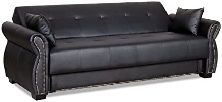 Serta SA-AVO-EBY-Set Dream Convertible Seville Sofa with Storage, Ebony, 85.4 L x 34.8 W x 33.7 H