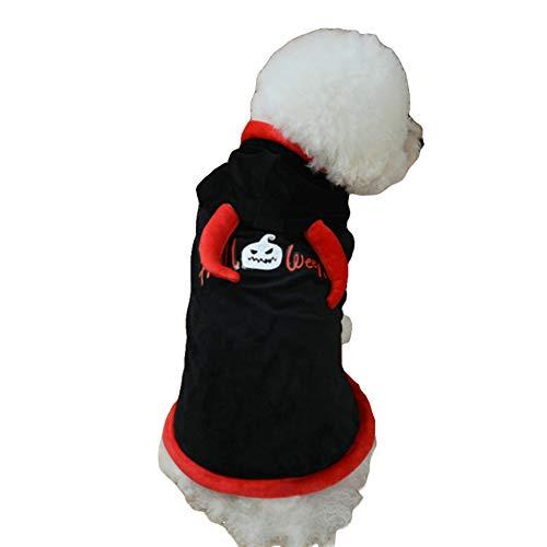 (NACOCO Dog Costume Devil Bull's Horns Design Pet Cape Halloween Hoodies Theme Party Cloak Winter Warm Coat Small Medium Dogs Cats)