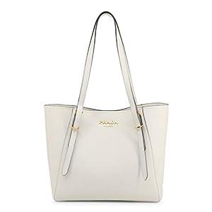 Prada Bianco White Vitello Grain Leather Shoulder Bag Tote 1BG301