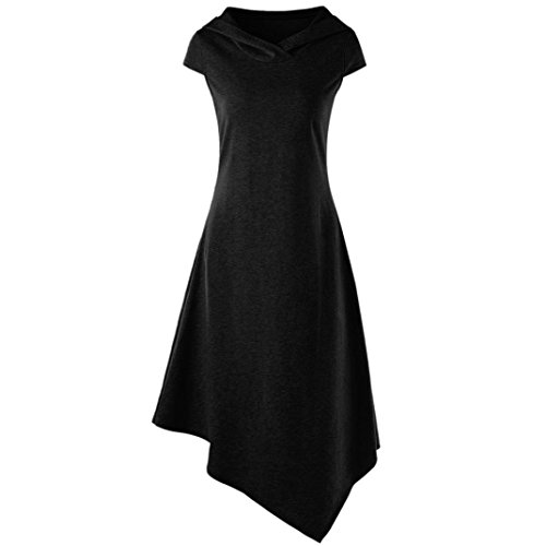 (TATGB Women Summer Casual Dress Hooded Cut Out Midi Dress)