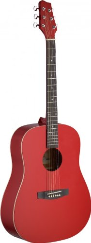 Stagg SA30D-RA Dreadnought Acoustic Guitar with Linden Top - Matte Apple Red