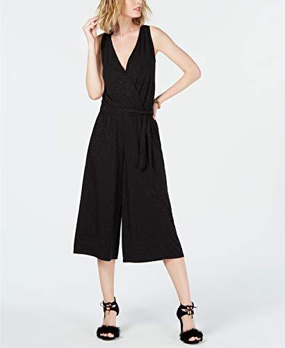 Michael Michael Kors Womens Faux Wrap Glitter Jumpsuit Black S