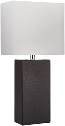 Elegant Designs LT1025 BLK Modern Genuine Leather Table Lamp, Black