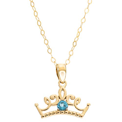 Disney Princess Jewelry, 14KT Yellow Gold Blue Topaz Tiara Pendant Necklace, 16 Inch Chain; Mickey's 90th Birthday Anniversary ()