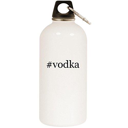 Molandra Products #Vodka - White Hashtag 20oz Stainless Steel Water Bottle with Carabiner
