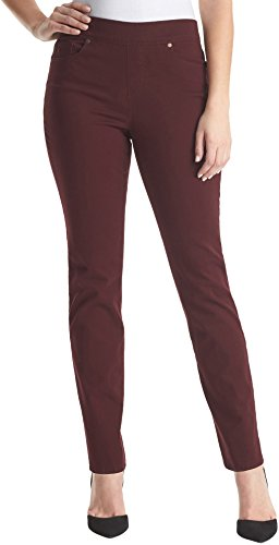 Gloria Vanderbilt Avery Pull-On Straight Leg Jeans Sweet Burgundy 8