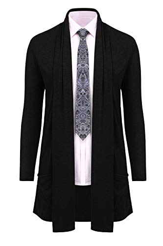 RAGEMALL Men's Cardigan Ruffle Shawl Collar Cardigan Open Front Blend Long Length Drape Cape Overcoat Black_XXL