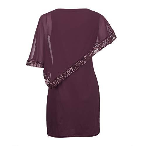 Plus Size Dress for Women,nikunLONG Cold Shoulder Overlay Asymmetric Chiffon Strapless Sequins Dress Summer Dress Wine Red