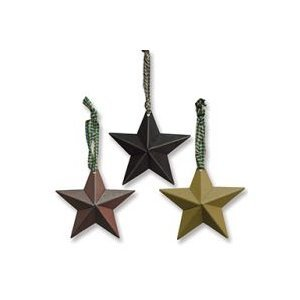 Dimensional Tin Stars in Burgundy, Black and Mustard with Fabric Hangers -Set of (Primitive Star Ornaments)