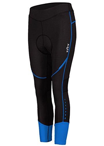 ZITY Bike Pants for Womens Compression 3/4 Pant 3D Padded Mountain Bike Capri Tights Blue XL