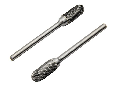YXGOOD 10 Pieces Tungsten Carbide Double Cut Rotary Burr Set with 3 mm (1/8 Inch) Shank and 6 mm (1/4 Inch) Head Size by YXGOOD (Image #2)