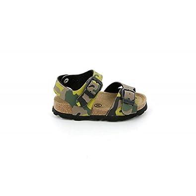 0415f7443b3a2 Grunland Junior-Sandale en LIÈGE Enfant-Kaki Militaire SB0169   -SB0169-