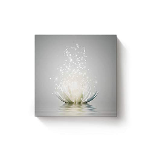 - EZON-CH Square Canvas Wall Art Oil Painting Christmas Office Home Decor,Art Lotus Flower Pattern White Artworks,Stretched by Wooden Frame,Ready to Hang,12 x 12 Inch