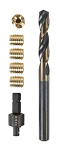 E-Z LOK 400-008 Threaded Inserts for Wood, Installation Kit, Brass, Includes 8-32 Knife Thread Inserts (10), Drill, Installation Tool