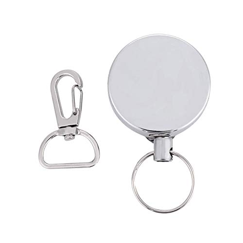 Dilwe Retractable Key Chain, 4cm Telescopic Steel Wire Anti-Lost Metal Steel Recoil Ring Camping Tool with Carabiner