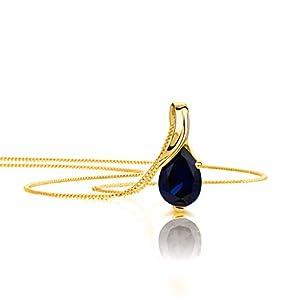 Orovi Collier Femme Or Jaune/Blanc 9 Carats/375 Pendentif avec Rubis Saphir/Sémeraude/Topaze/Améthyste/Aigue-marine…