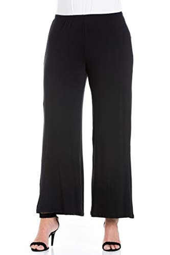 24seven Comfort Apparel Plus Size Clothing for Women Wide Leg Palazzo Pants Elastic Waistband - Made in USA - 3X-Large - Black