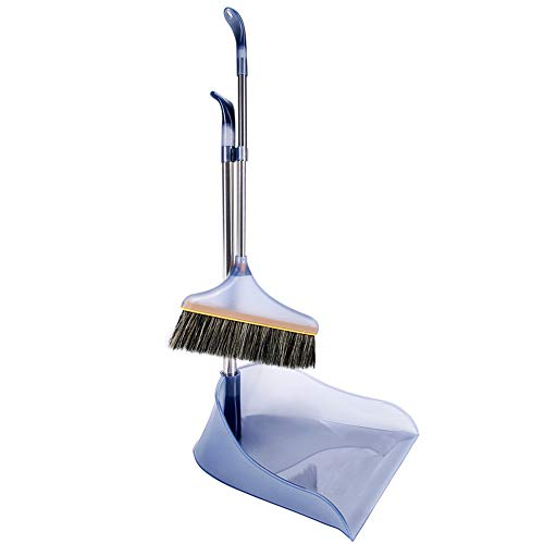 Bristle Lobby Broom - Upright Broom Dustpan Set, Lightweight Premium Comfortable Grip Duster Double Bristle Sweeper Broom Set Standing Up Lobby Broom and Dust Brush Combo for Sweeping Hard Floor Surfaces (Grey)