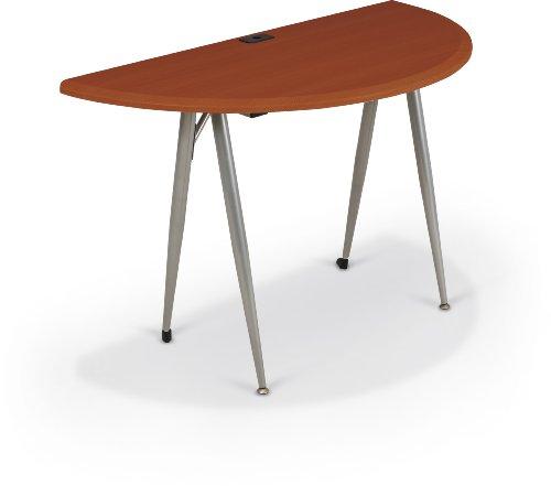 Balt iFlex Modular Desking System Table, Small Half Round, Full, Cherry/Silver