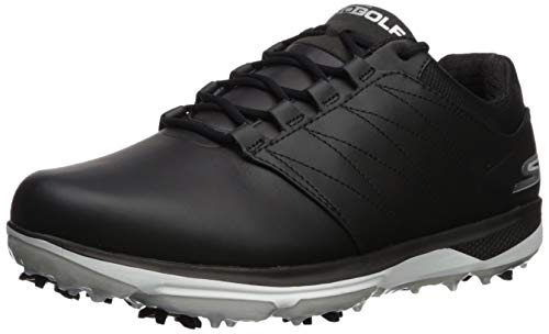 Skechers Men's Pro 4 Waterproof Golf Shoe, Black/White, 12 W US