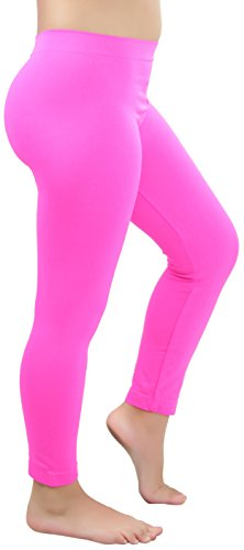 ToBeInStyle Girls' Nylon-Spandex Blend Full Length Leggings - Hot Pink - S/M -