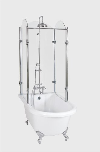 Oasis 65 65 Vintage Clawfoot Tub With Tempered Glass Shower