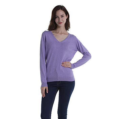 - Peplum Pointe 100 Cotton Knit V Neck Long Sleeve Pollover Fall Sweaters for Womens (Purple,6)
