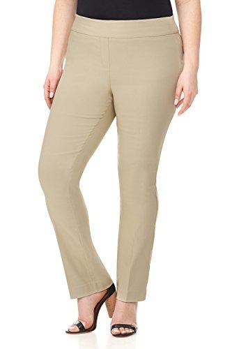 (Rekucci Curvy Woman Plus Size Modern Straight Leg Pant w/Tummy Control (18WSHORT,Stone))