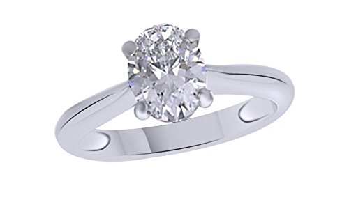Jewel Zone US Oval Cut White Cubic Zirconia Anniversary Solitaire Ring in 14k White Gold Over Sterling Silver (2 Carat) by Jewel Zone US