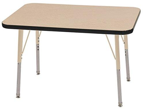 ECR4Kids T-Mold 24'' x 36'' Rectangular Activity School Table, Standard Legs w/ Swivel Glides, Adjustable Height 19-30 inch (Maple/Black/Sand) by ECR4Kids