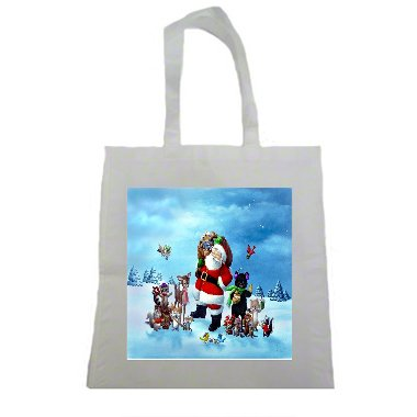 Classic Christmas Santa Clause Scene Print Halloween Trick Or Treat Polyester White Tote Bag 15x16x 3.5 One of our Black Friday Deals 2017]()