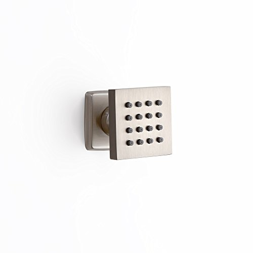JiaYouJia Wall-Mount Single Function Square Adjustable 16-Nozzle Body Spray Shower Jet in Brushed Nickel by JiaYouJia
