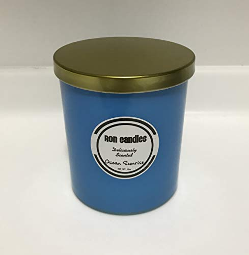 Scented Candles - 1 Wick All Natural Soy Wax Scented Candles; 12 oz jar with Metal lid Glass; Aromatherapy Effect - by Ron Candles (Ocean Sunrise)