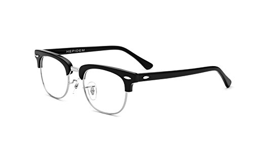 HEPIDEM Acetate Men Round Prescription Spectacles Optical Glasses Frame 5154 (Black - Spectacles Mens