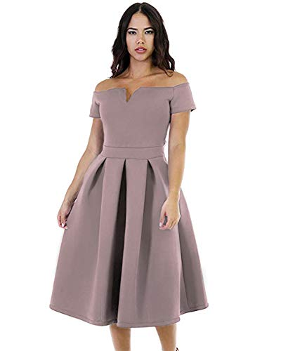 LALAGEN Women's Vintage 1950s Party Cocktail Wedding Swing Midi Dress Gray Purple XXL