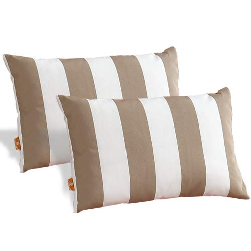 Outdoor Water Resistant Rectangle Stripe Head Pillow Set of 2PCS 15 x 10 , Insert Included, Chair Pillow, 100 Polyester