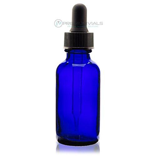 1 Oz (30 ml) BLUE Boston Round Glass Bottle w/Dropper - Pack of 12
