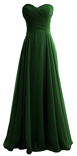 MACloth Women Strapless Pleated Chiffon Long Bridesmaid Dress Wedding Party Gown (26w, Dark Green)